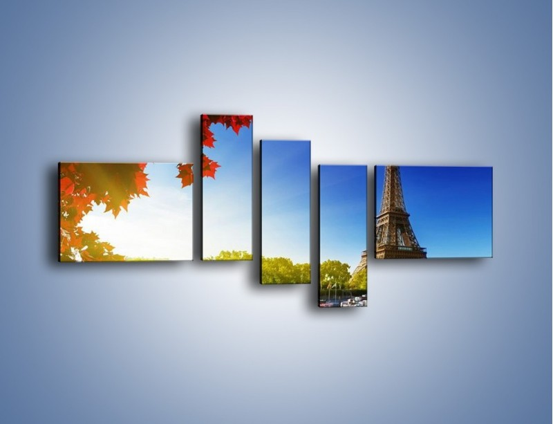 Obraz na płótnie – Wieża Eiffla w piękny dzień – pięcioczęściowy AM373W5