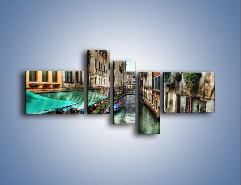 Obraz na płótnie – Wenecka uliczka w kolorach HDR – pięcioczęściowy AM374W5