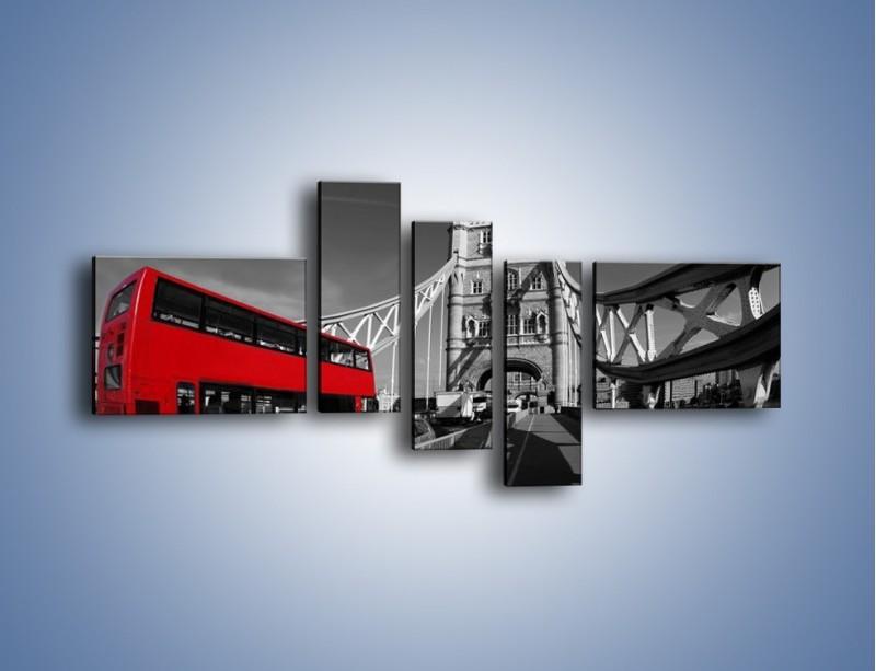 Obraz na płótnie – Tower Bridge i czerwony autobus – pięcioczęściowy AM394W5