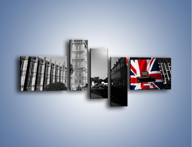 Obraz na płótnie – Big Ben i autobus z flagą UK – pięcioczęściowy AM396W5