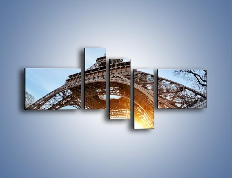 Obraz na płótnie – Wieża Eiffla w słońcu – pięcioczęściowy AM403W5