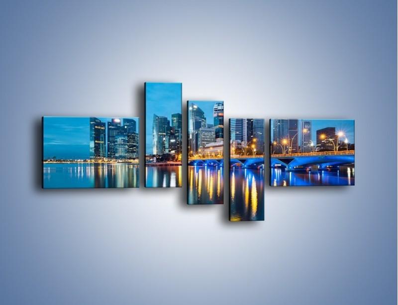 Obraz na płótnie – Kolorowe światła Singapuru – pięcioczęściowy AM408W5