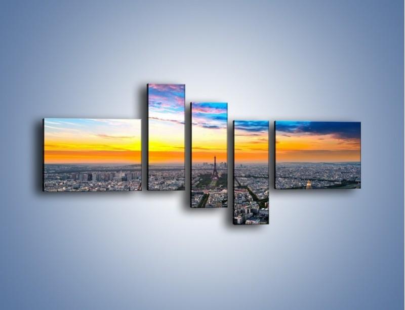 Obraz na płótnie – Panorama Paryża – pięcioczęściowy AM415W5