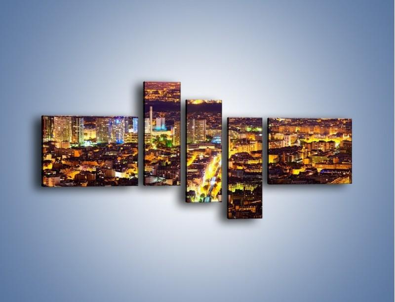 Obraz na płótnie – Kolory Paryża nocą – pięcioczęściowy AM419W5