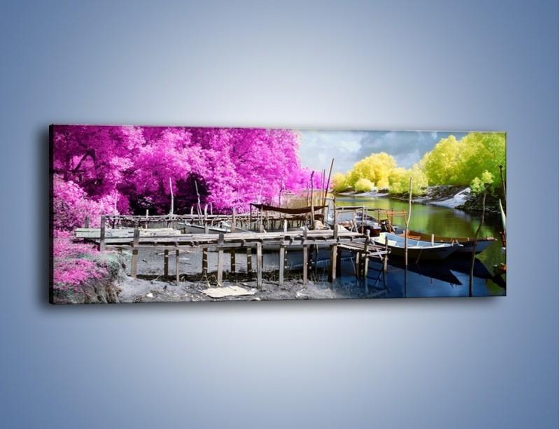 Obraz na płótnie – Wyraźne kolory w szarym tle – jednoczęściowy panoramiczny KN1334A