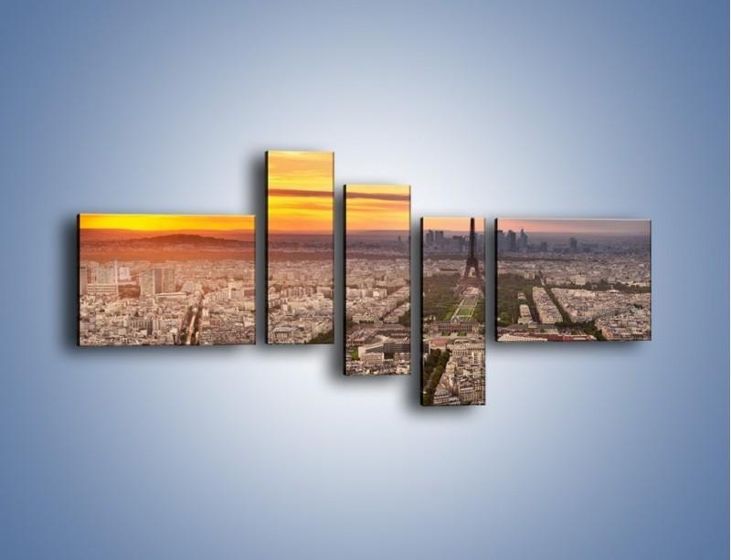 Obraz na płótnie – Zachód słońca nad Paryżem – pięcioczęściowy AM420W5