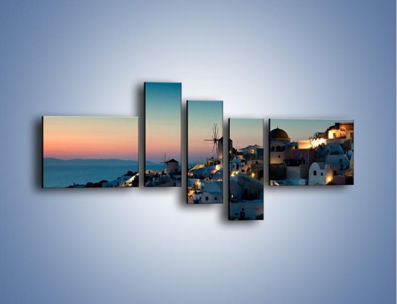 Obraz na płótnie – Domki na Santorini po zmierzchu – pięcioczęściowy AM421W5