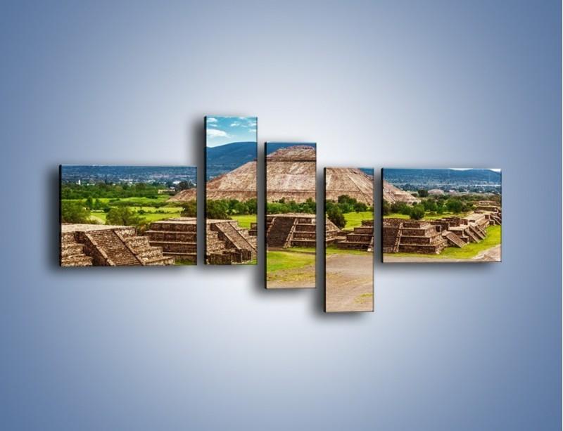 Obraz na płótnie – Piramida Słońca w Meksyku – pięcioczęściowy AM450W5