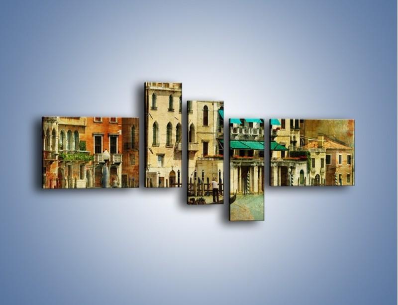 Obraz na płótnie – Weneckie domy w stylu vintage – pięcioczęściowy AM459W5
