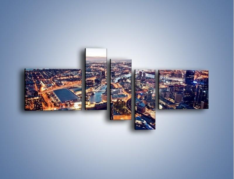 Obraz na płótnie – Panorama Melbourne po zmierzchu – pięcioczęściowy AM470W5