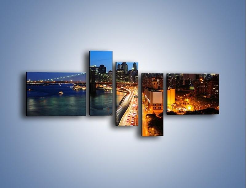 Obraz na płótnie – Manhattan wieczorową porą – pięcioczęściowy AM477W5