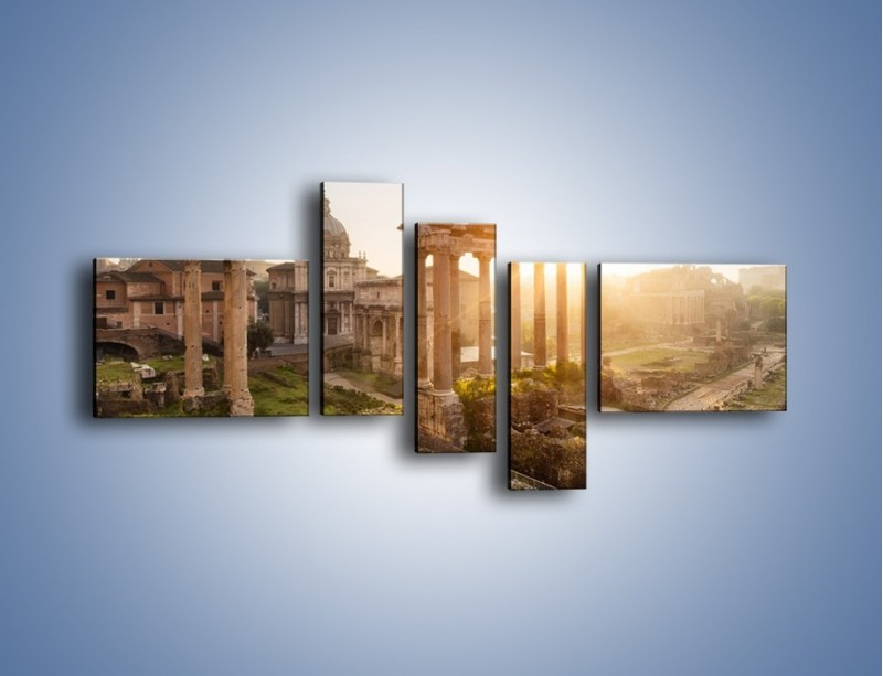 Obraz na płótnie – Rzymskie ruiny o zachodzie słońca – pięcioczęściowy AM480W5