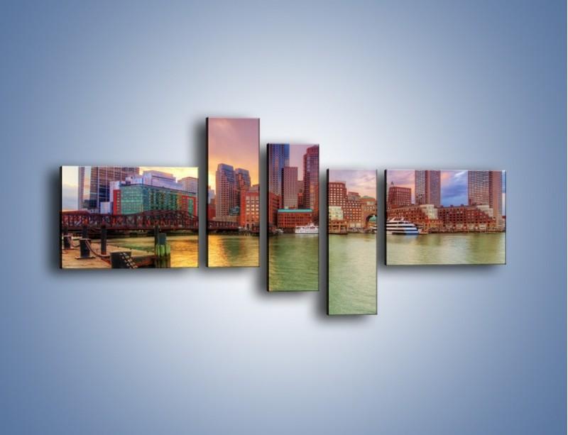Obraz na płótnie – Widok na centrum Bostonu – pięcioczęściowy AM486W5
