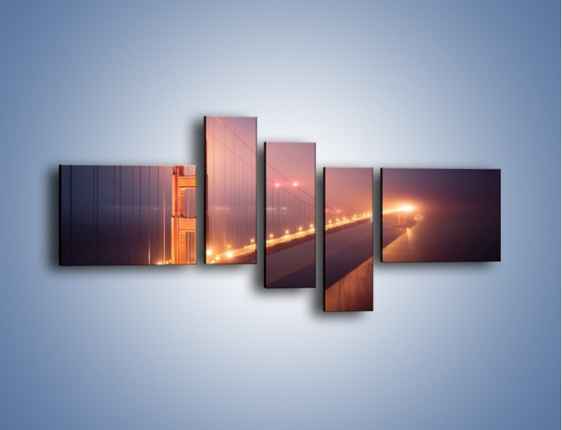 Obraz na płótnie – Most Golden Gate w nocnej mgle – pięcioczęściowy AM490W5