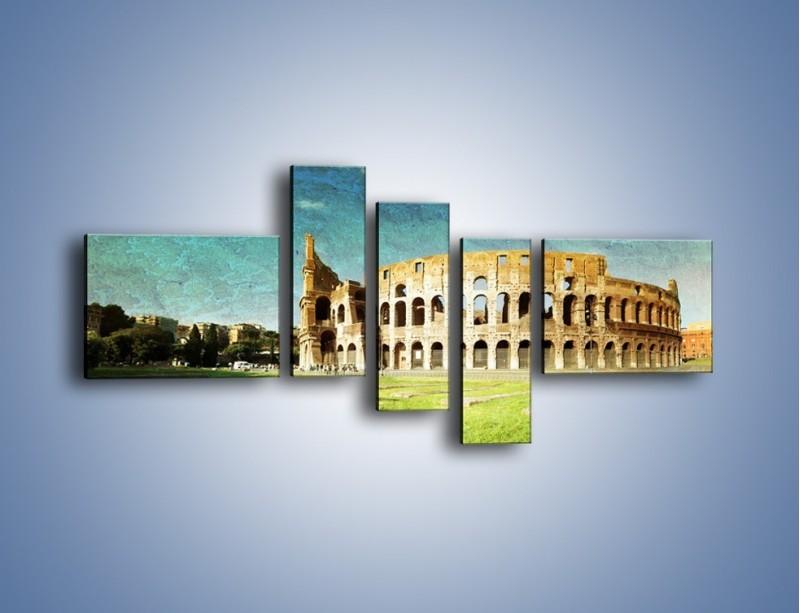 Obraz na płótnie – Koloseum w stylu vintage – pięcioczęściowy AM503W5