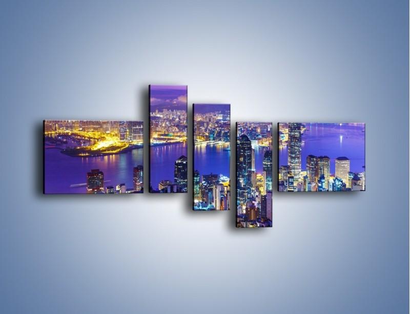 Obraz na płótnie – Wieczorna panorama Hong Kongu – pięcioczęściowy AM505W5