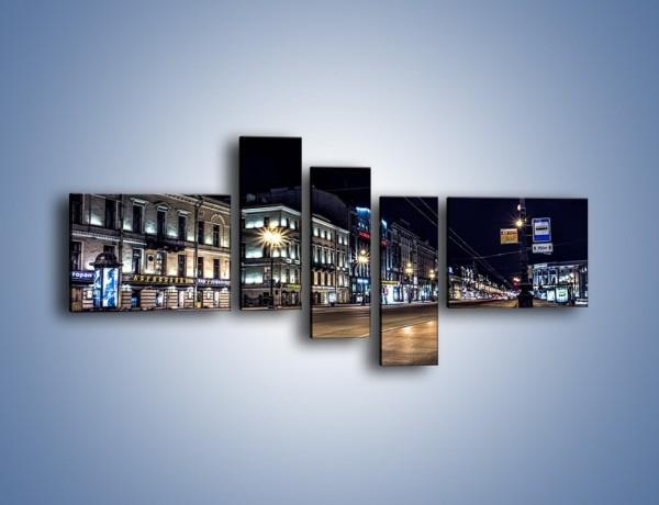 Obraz na płótnie – Ulica w Petersburgu nocą – pięcioczęściowy AM544W5