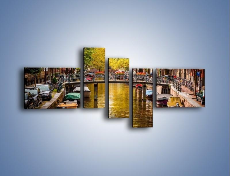 Obraz na płótnie – Most nad amsterdamskim kanałem – pięcioczęściowy AM552W5