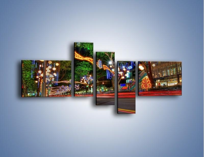 Obraz na płótnie – Noworoczne dekoracje w Singapurze – pięcioczęściowy AM616W5