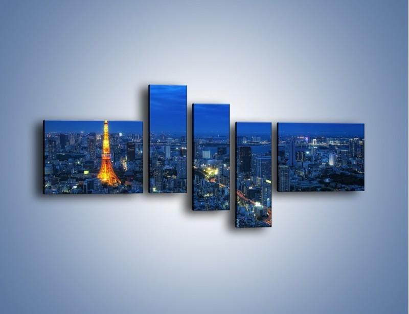 Obraz na płótnie – Tokyo Tower w Japonii – pięcioczęściowy AM621W5