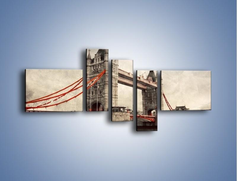 Obraz na płótnie – Tower Bridge w stylu vintage – pięcioczęściowy AM668W5