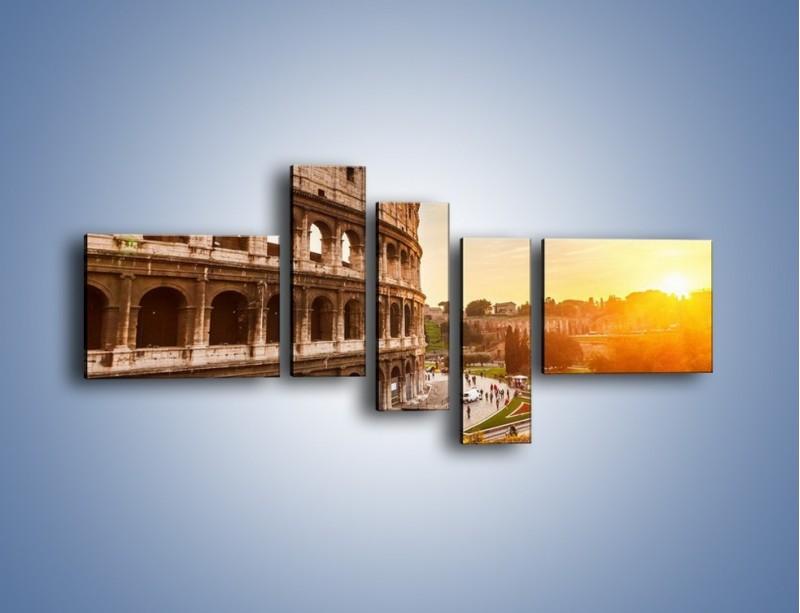 Obraz na płótnie – Rzymskie Koloseum o zachodzie słońca – pięcioczęściowy AM684W5