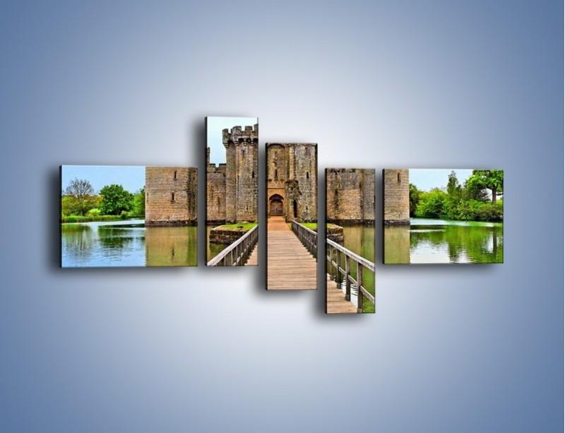 Obraz na płótnie – Zamek Bodiam w Wielkiej Brytanii – pięcioczęściowy AM692W5