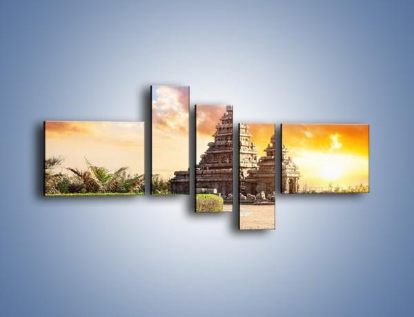 Obraz na płótnie – Świątynia Śiwy o zachodzie słońca – pięcioczęściowy AM696W5