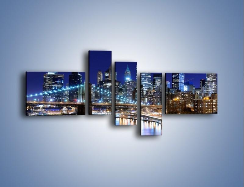 Obraz na płótnie – Nocne światła Nowego Yorku – pięcioczęściowy AM726W5