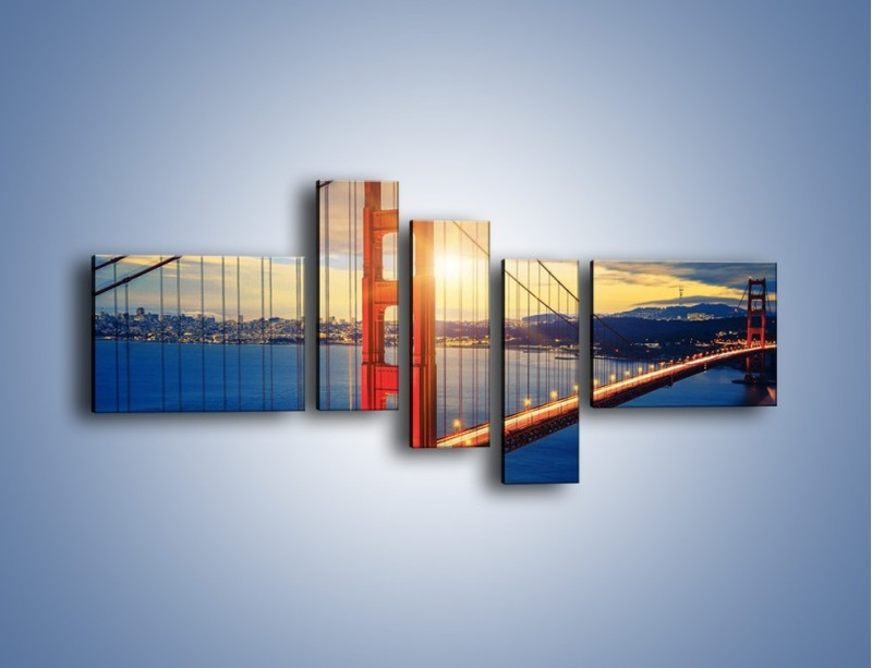 Obraz na płótnie – Zachód słońca nad Mostem Golden Gate – pięcioczęściowy AM738W5