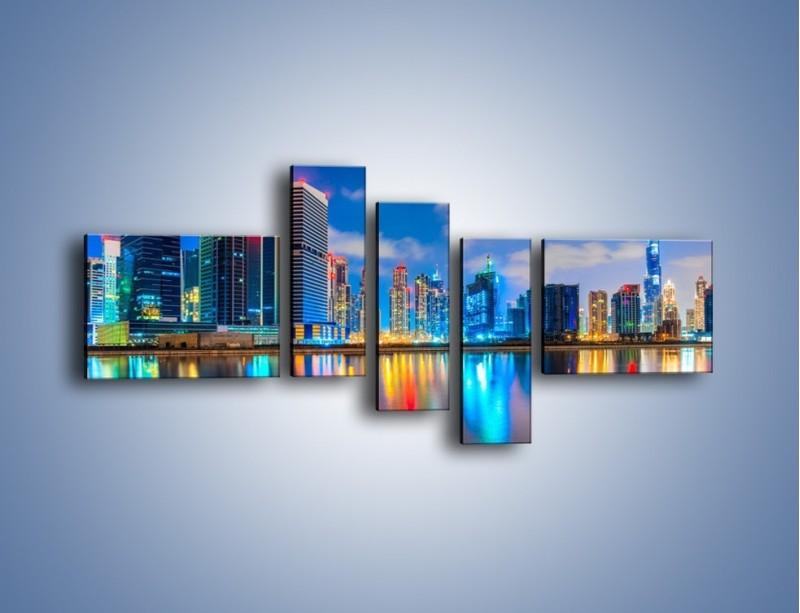 Obraz na płótnie – Kolory Dubaju odbite w wodzie – pięcioczęściowy AM740W5