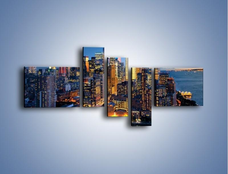 Obraz na płótnie – Zmierzch nad Manhattanem – pięcioczęściowy AM749W5