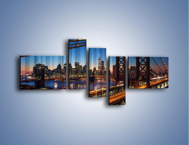 Obraz na płótnie – Nowojorskie mosty na tle Manhattanu – pięcioczęściowy AM751W5