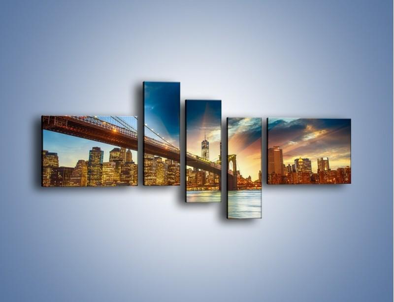 Obraz na płótnie – Most w Nowym Jorku o zmierzchu – pięcioczęściowy AM754W5