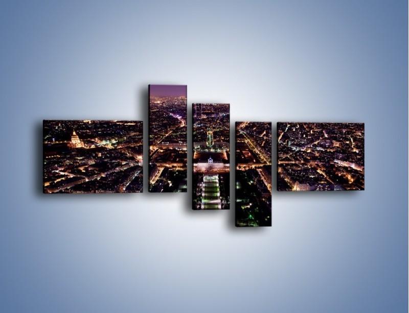 Obraz na płótnie – Panorama Paryża z Wieży Eiffla – pięcioczęściowy AM764W5