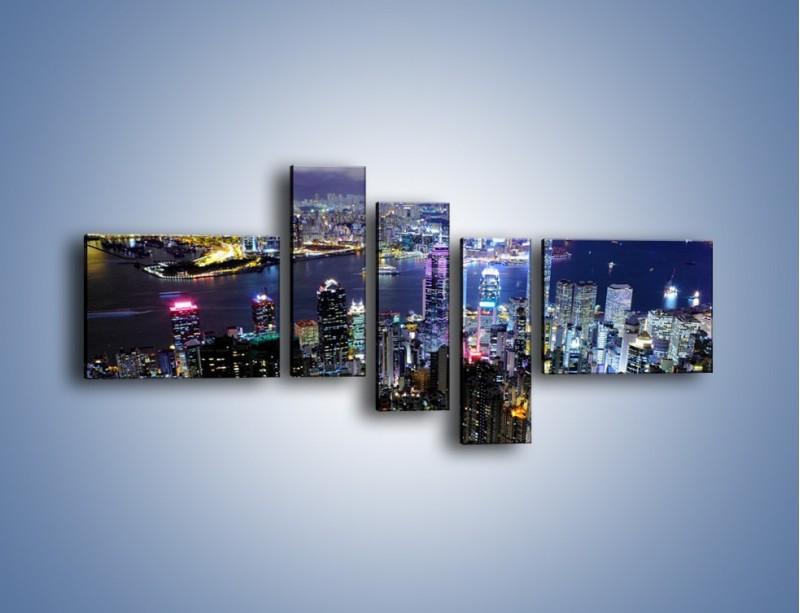 Obraz na płótnie – Nocna panorama Hong Kongu – pięcioczęściowy AM772W5