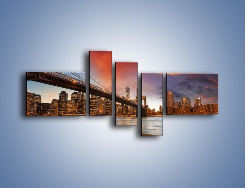 Obraz na płótnie – Zmierzch nad Mostem Brooklińskim – pięcioczęściowy AM793W5