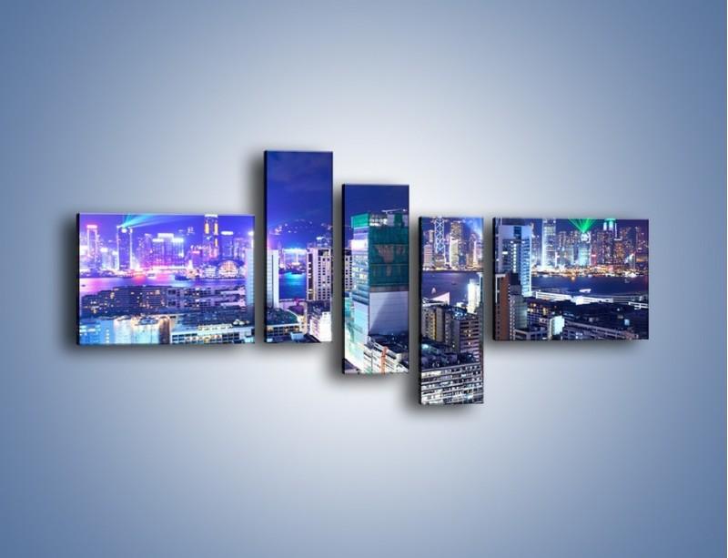 Obraz na płótnie – Pokaz laserów nad Hong Kongiem – pięcioczęściowy AM796W5