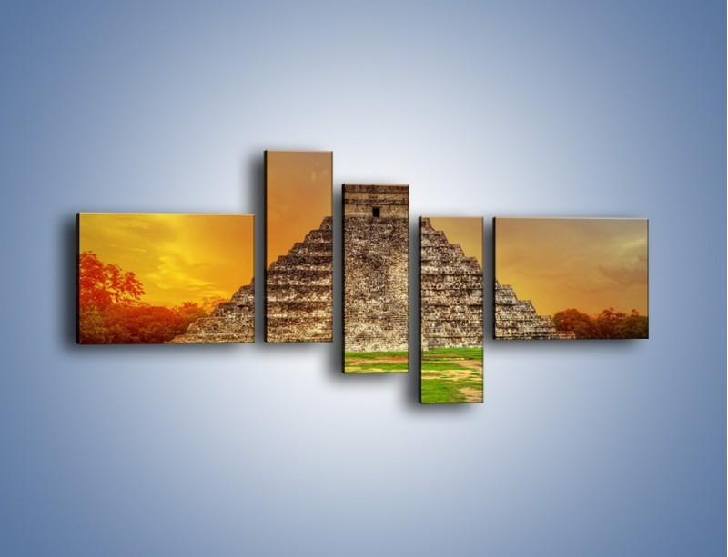 Obraz na płótnie – Piramida Kukulkana w Meksyku – pięcioczęściowy AM814W5
