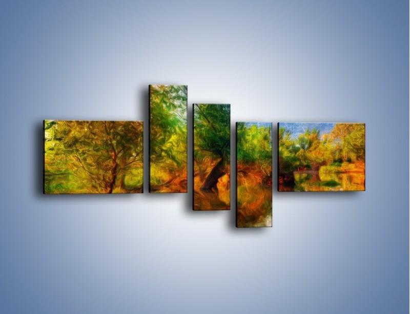 Obraz na płótnie – Drzewa w wodnym lustrze – pięcioczęściowy GR010W5