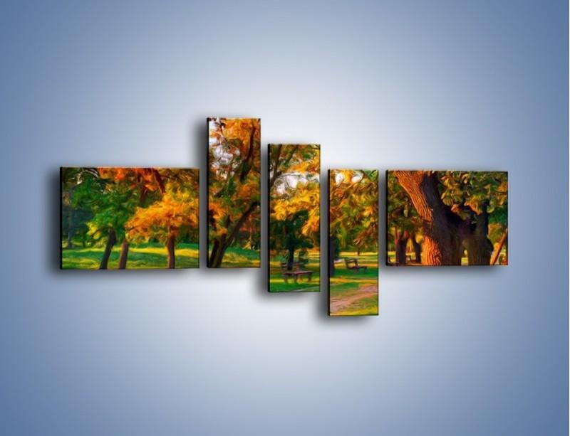 Obraz na płótnie – Ławeczka w parku – pięcioczęściowy GR011W5