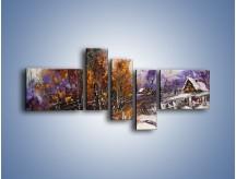 Obraz na płótnie – Domki zimową porą – pięcioczęściowy GR023W5