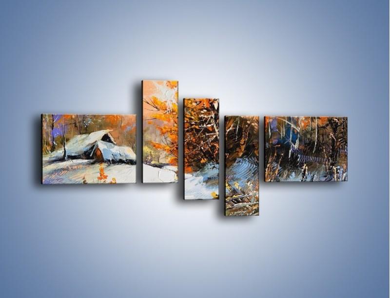 Obraz na płótnie – Zimowy klimat na wsi – pięcioczęściowy GR027W5