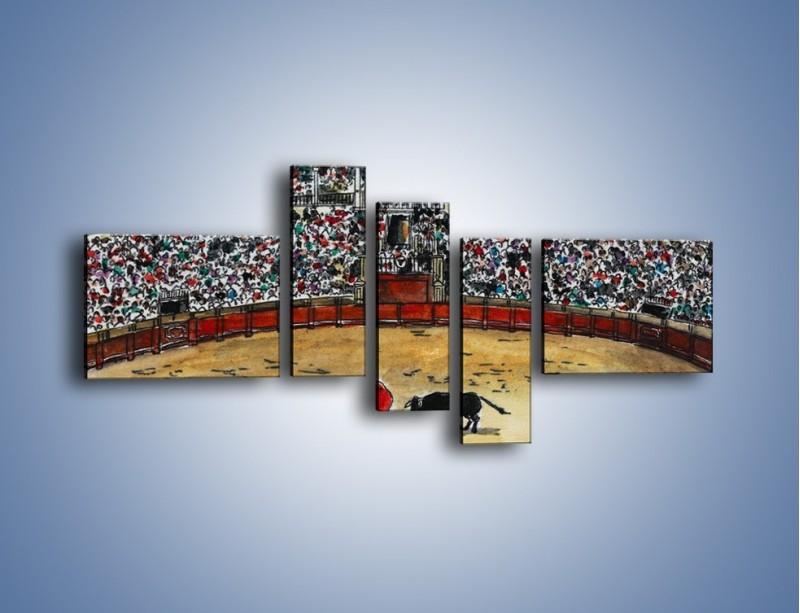 Obraz na płótnie – Walka torreadora z bykiem – pięcioczęściowy GR040W5