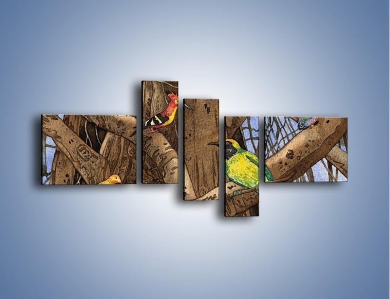 Obraz na płótnie – Mali przyjaciele na drzewie – pięcioczęściowy GR050W5