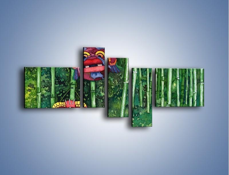 Obraz na płótnie – Maski dzikiego plemienia – pięcioczęściowy GR051W5