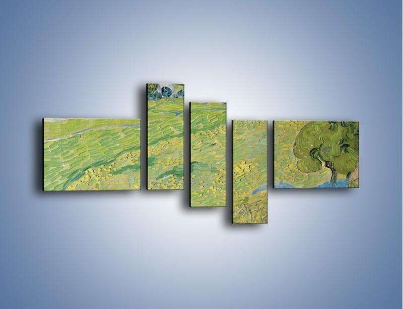 Obraz na płótnie – Łąka i małe domki – pięcioczęściowy GR105W5