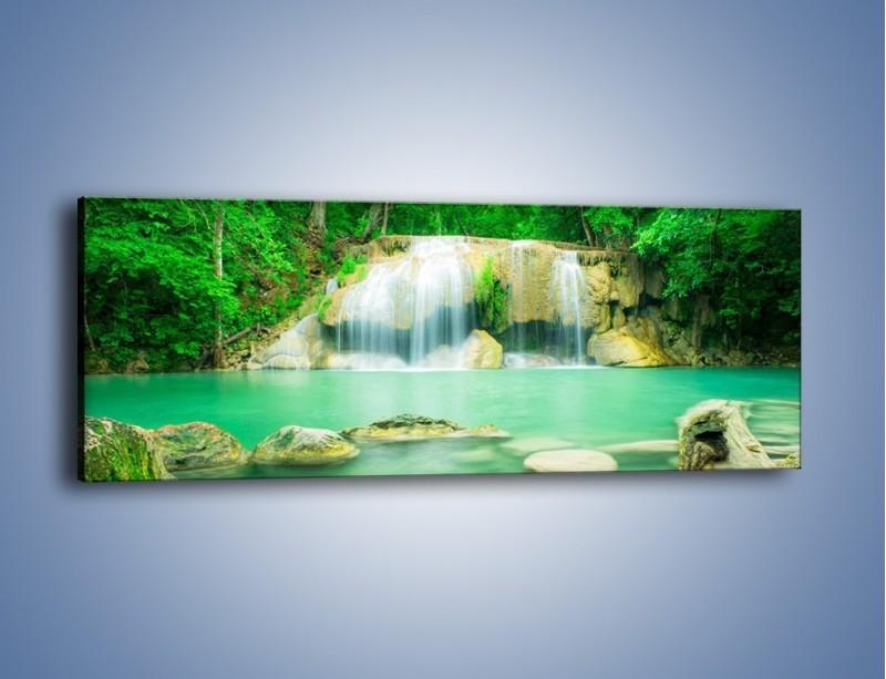 Obraz na płótnie – Jasne kamienie pod wodą – jednoczęściowy panoramiczny KN1340A