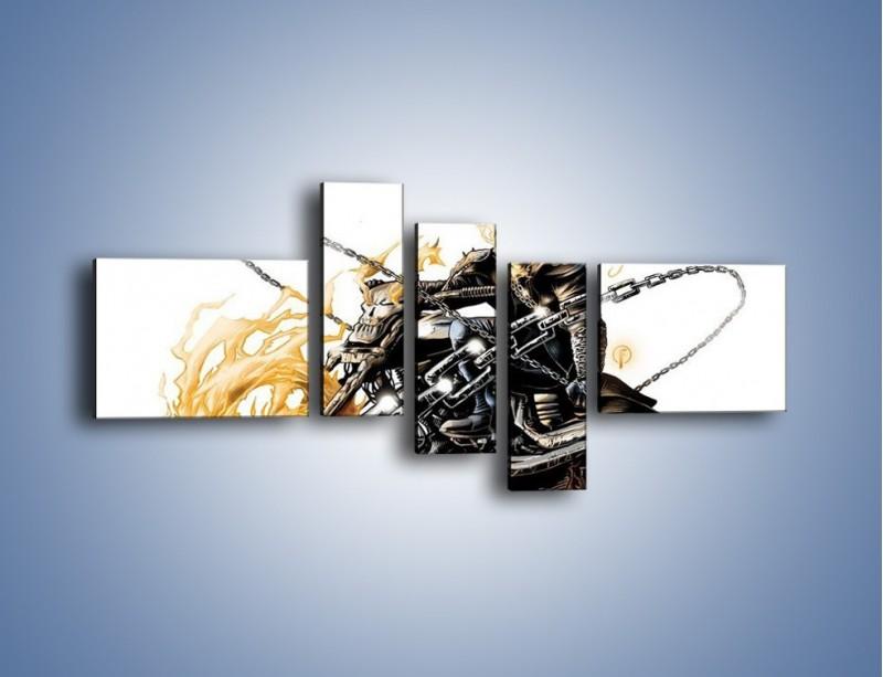 Obraz na płótnie – Mroczna postać na motorze – pięcioczęściowy GR167W5