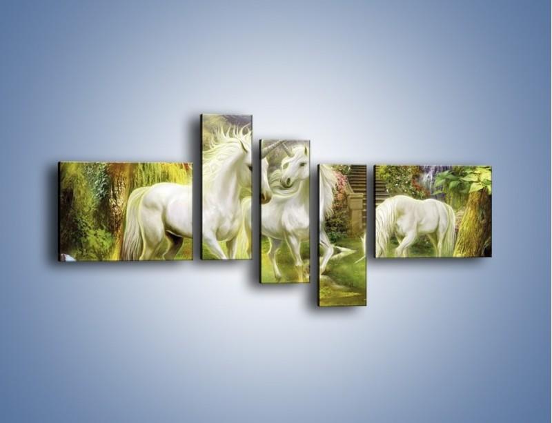 Obraz na płótnie – Jednorożce w krainie czarów – pięcioczęściowy GR173W5